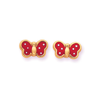 Perfect Little Butterflies - 14K Yellow Gold Red with White Dots Girls Butterfly Earrings