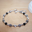 Mommy's Favorite Keepsake™ - Grow-With-Us™ Genuine Black Onyx Sterling Silver Mother's, Grandmother's, Generations Engravable Bracelet - Add up to Three Birthstone Pairs to Personalize - BEST SELLER