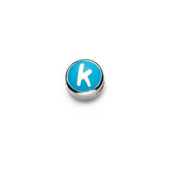 Letter k  - Blue and Orange Kids Alphabet Letter Charm Bead - High-Polished Sterling Silver Rhodium - Add to a bracelet or necklace