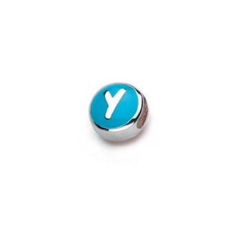 Letter y  - Blue and Pink Kids Alphabet Letter Charm Bead - High-Polished Sterling Silver Rhodium - Add to a bracelet or necklace