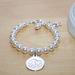 Classic Beauty™ by My First Pearls® Baby Bracelet – Grow-With-Me® designer original freshwater cultured pearl baby bracelet – Personalize with gemstones & charms/