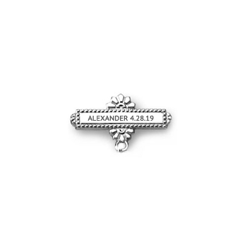 You Design it!  We Create It!® Custom Baptismal Pin - Sterling Silver Rhodium - Baby Christening Pin