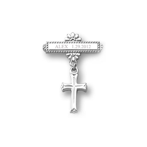 Baby Cross - Christening / Baptism Pin - Sterling Silver