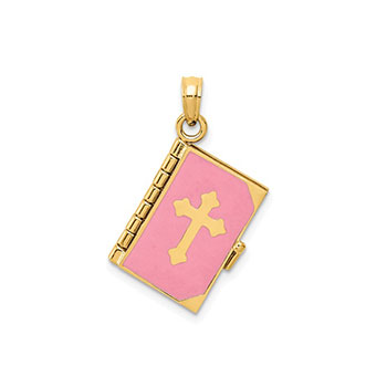 Pink Enameled Bible Verse Necklace - 14K Gold