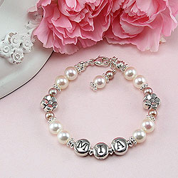 Daisies in Bloom™ by My First Pearls® Baby Bracelet – Grow-With-Me® designer original freshwater cultured pearl name baby bracelet – Personalize with gemstones & charms/
