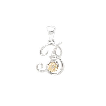 Initial Necklace - Letter B - Sterling Silver / 14K Gold