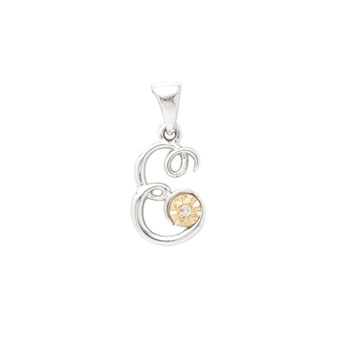 Initial Necklace - Letter E - Sterling Silver / 14K Gold