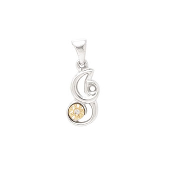 Initial Necklace - Letter I - Sterling Silver / 14K Gold