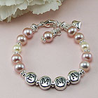 Emma - Baby Name Bracelet - Freshwater Cultured Pearls - Sterling Silver
