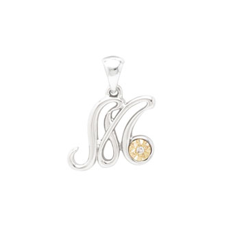 Initial Necklace - Letter M - Sterling Silver / 14K Gold