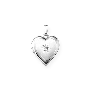 "Children's Jewelry to Love - Girls Sterling Silver Rhodium Beautiful 14mm Diamond Heart Photo Locket - Engravable on back - 15"" chain included - BEST SELLER"