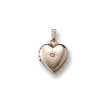 Little Girls Locket - Heart with Diamond - 14K Gold