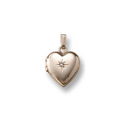Little Girls Locket - Heart with Diamond - 14K Gold/