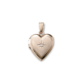 "Kid's Jewelry to Love - Girls 14K Yellow Gold Beautiful 14mm Diamond Heart Photo Locket - Engravable on back - 15"" chain included - BEST SELLER"