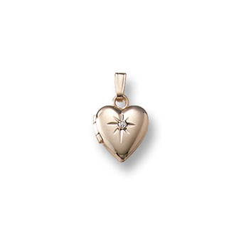 "Kid's Jewelry to Love - Girls 14K Yellow Gold Tiny 9mm Diamond Heart Locket - Engravable on back - 13"" chain included - BEST SELLER"