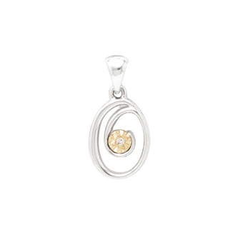 Initial Necklace - Letter O - Sterling Silver / 14K Gold