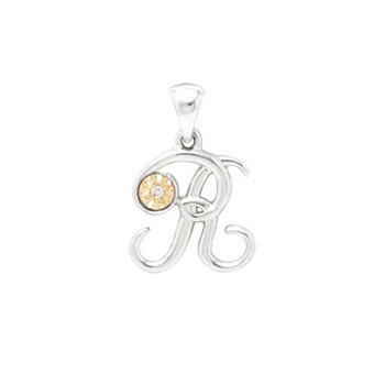 Initial Necklace - Letter R - Sterling Silver / 14K Gold