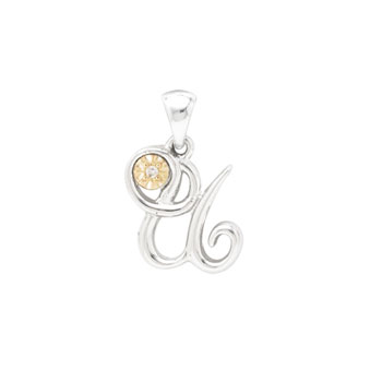Initial Necklace - Letter U - Sterling Silver / 14K Gold