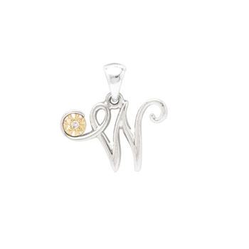 Initial Necklace - Letter W - Sterling Silver / 14K Gold