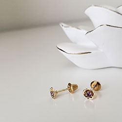 Flower Girl Earrings - February Birthstone/