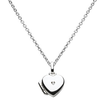 "Girls Adorable Heart Locket with Diamond - Sterling Silver Rhodium - Engravable on back - Includes 14"" chain adjustable at 14"", 13"", and 12"""