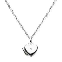Girls Adorable Heart Locket with Diamond - Sterling Silver Rhodium - Engravable on back - Includes 14