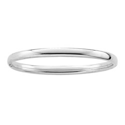 Fine Child Bracelets - High Polished Sterling Silver Rhodium Grade School Girl, Tween, and Teen Bangle Bracelet - Size 6.25