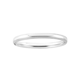 "Fine Baby Bracelets - High Polished Sterling Silver Rhodium Beaded Edge Baby Bangle Bracelet - Size 4.5"" (Baby - 2 years) - BEST SELLER"