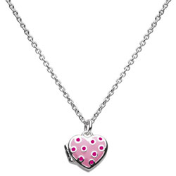 Polka Dot Cutie Pie Pink Heart Locket - Sterling Silver Rhodium Girls Heart Locket Necklace - Includes 14-inch chain/
