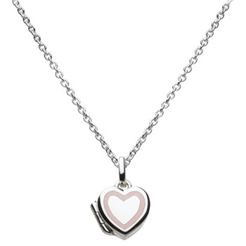 "Pretty Little Girl Pink and White Heart Locket - Sterling Silver Rhodium Girls Heart Locket Necklace - 14"" chain included"
