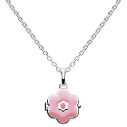 Perfect Flower Girl Gifts™ - Keepsake Pink Flower Locket - Sterling Silver Rhodium Girls Flower Locket Necklace - Includes 14-inch chain/